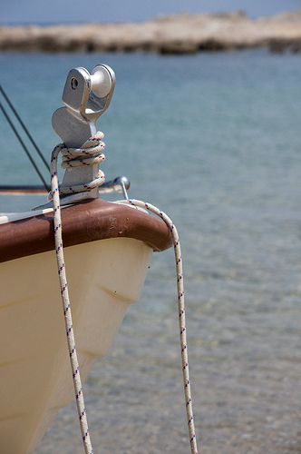 Anchor rope tied to boat's bow