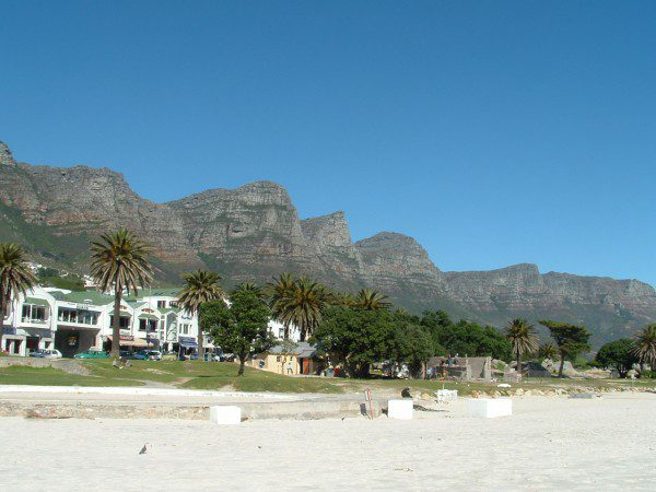 Camps Bay beach, with the Twelve Apostles behind
